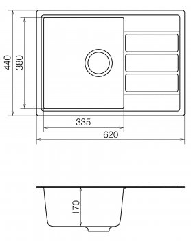 Мойка кухонная кварцевая VANKOR Easy EMP 02.61 Gray stone (Серый камень)