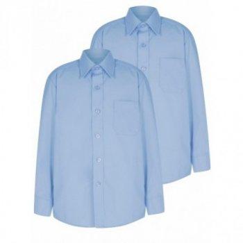 Голубая рубашка George, покрой Slim Fit, с длинным рукавом, для мальчика