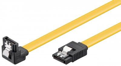 Кабель накопичувача Goobay SATA 7p M/M 1.0m 90°вниз 6Gbps Latch жовтий(75.09.5024)