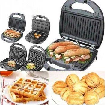 Гриль бутербродниця вафельниця горішниця мультимейкер 4 в 1 Grandhoff Gt-779 1200 Вт (bks_02500)