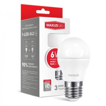 Лампа світлодіодна Maxus G45 F (6W, 4100K, 220V, E27)