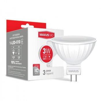 Лампа світлодіодна Maxus MR16 (3W, 4100K, 220V, GU5.3)