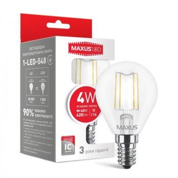 Лампа світлодіодна Maxus G45 FM (4W, 4100K, 220V, E14)