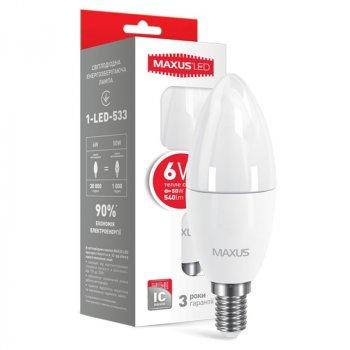 Лампа світлодіодна Maxus C37 CL-F (6W, 3000K, 220V, E14)