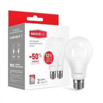 Лампа світлодіодна Maxus A65 (12W, 3000K, 220V, E27), 2шт