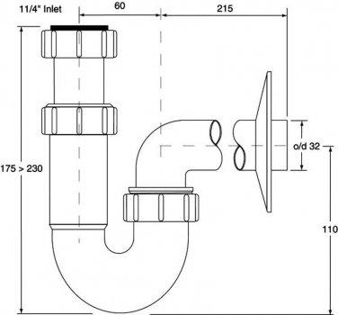 Сифон пластиковый для раковины McALPINE без слива 1 1/4x32 трубный (5036484071040)