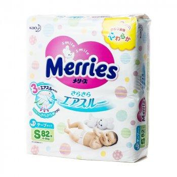 Детские подзузники MERRIES, размер S (4-8 кг), 82 шт.