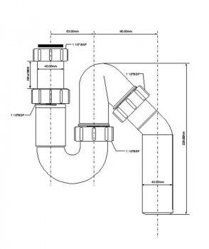 Сифон пластиковый для мойки McALPINE трубный без слива 1 1/2x40 мм (5036484010025)