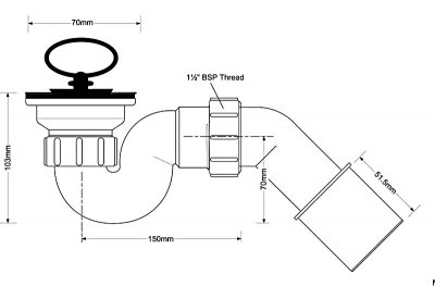 Сифон пластиковый для поддона McALPINE 50 мм со сливом h103 мм 70х50 мм трубный (5036484011749)