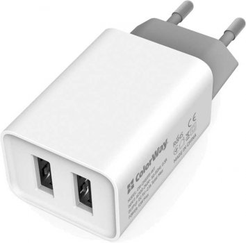 Сетевое зарядное устройство ColorWay 2USB AUTO ID 2.1A (10W) White + Кабель ColorWay micro USB 2.1А 1 м Black (CW-CHS015-WT-CBU)