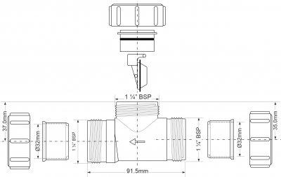 Патрубок пластиковый McALPINE с обратным клапаном 32х32 мм (5036484049506)