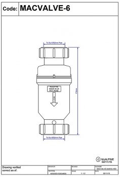 Клапан обратного потока воды McALPINE с мембраной 32х32 мм (5036484080035)