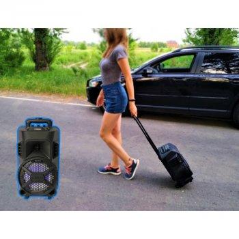 Портативна колонка Column ZQS-8101 USB переносна блютуз з LED підсвічуванням+ Bluetooth + провідний мікрофон для вулиці і будинки - Музична бездротова акустична система караоке з активним динаміком і вбудованим акумулятором, Чорний
