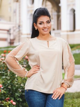 Блуза DNKA р4198/1 Бежевая