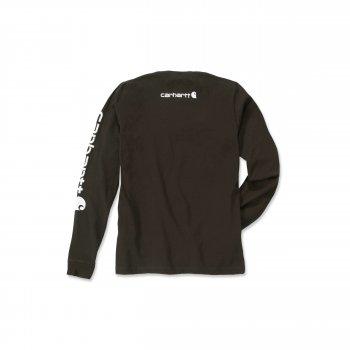 Футболка з довгим рукавом Carhartt Sleeve Logo T-Shirt L/S - EK231 (Peat)