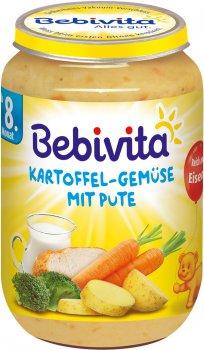 Упаковка овочево-м'ясного пюре Bebivita Картопля й овочі з індичкою 220 г х 6 шт. (4018852001454)