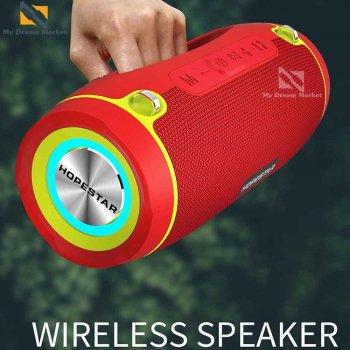 Музична колонка Hopestar H45 вологозахисна USB безпровідна - Портативна блютуз акустична система з функцією гучномовця – функція TWS і роз'єм під TF-карти + AUX для будинку вулиці, Red