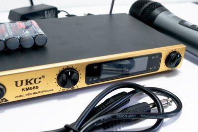 Караоке для дому, UKC KM688, обладнання для караоке, караоке система для будинку, 2 мікрофона (1003654-Gold-1)