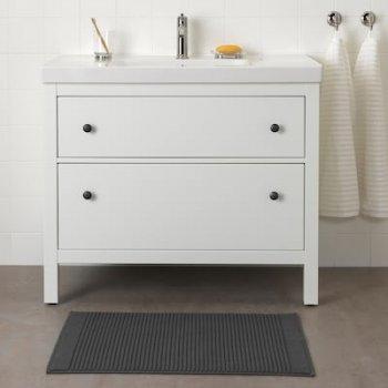 Коврик для ванной комнаты IKEA (ИКЕА) ALSTERN махровый 50x80 см Темно-серый 604.473.47