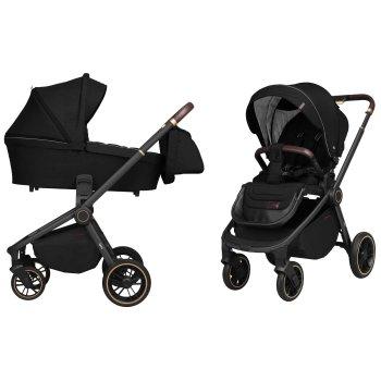 Коляска универсальная 2 в 1 Carrello Epica CRL-8510/1 Space Black с черной рамой + дождевик + чехол на ножки и сумка