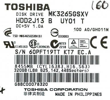 """Жорсткий диск для ноутбука Toshiba 320GB 2.5"""" 8MB 5400rpm (MK3265GSXV) SATAII 3Gb/s Б/У"""