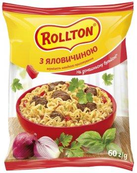 Упаковка вермішелі швидкого приготування Rollton на домашньому бульйоні з яловичиною 60 г х 60 шт. (4820179250138)