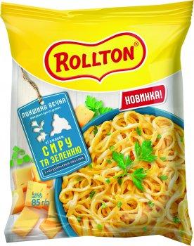 Упаковка локшини швидкого приготування Rollton яєчна зі смаком сиру та зеленню пачка 85 г х 20 шт. (4820179254976)