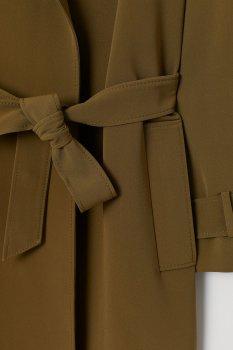 Пальто H&M 7713680 Зеленое хаки