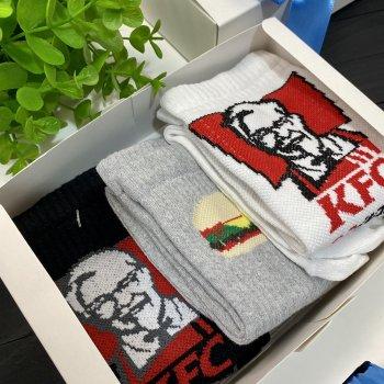 Подарочный набор мужские носки 3 шт KFC черные, Бургер LOMM BOX 84 (3173)