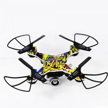Квадрокоптер на радиоуправлении дрон D12 WiFi с пультом Д/У с камерой WIFI - летающий дрон с подсветкой на аккумуляторе для детей и взрослых, - Разноцветный