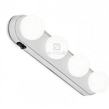 Подсветка на зеркало для макияжа Studio Glow - Профессиональная светодиодная подсветка для нанесения макияжа, настенная подсветка на зеркало для макияжа 4 LED лампочки