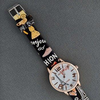 Классические Женские Часы Qulijia OL2-18 c ремешком черного цвета с рисунками