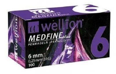 Иглы Медфайн Wellion Medfine Plus для инсулиновых шприц-ручек 6 мм (31G x 0,25 мм)