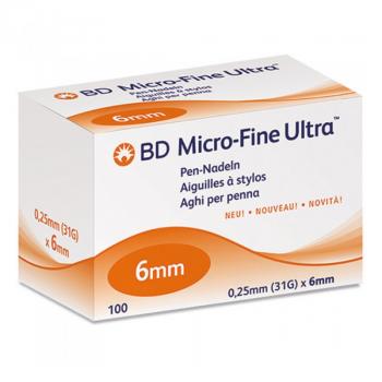 Иглы для инсулиновых ручек Microfine Becton Dickinson МикроФайн 6 мм (31G x 0,25 мм)