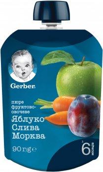 Упаковка фруктово-овочевого пюре Gerber Яблуко, слива, морква з 6 місяців Пастеризоване 90 г х 16 шт. (7613036345910)