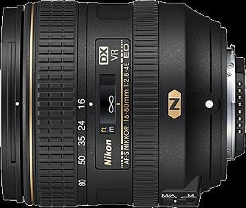 Об'єктив Nikon AF-S Dx Vr Nikkor 16-80mm f/2,8-4E Ed 480 г 85.5 мм чорний