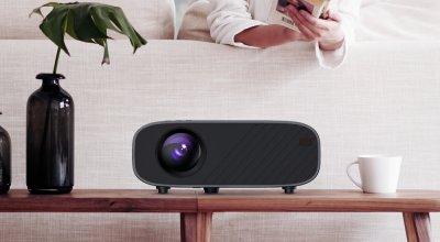 Мультимедийный портативный HD LED проектор для домашнего кинотеатра с динамиком Everycom M7 (basic version) Black 215х78х146 мм
