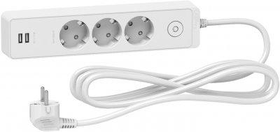 Мережевий подовжувач Schneider 3 розетки + 2 USB 3 м White (ST943U3W)