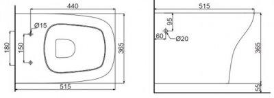 Унітаз підвісний DEVIT Iven зі сидінням Soft Close дюропласт 3120141