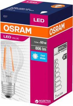 Світлодіодна лампа Osram LED Value Filament A60 7W (806Lm) 4000K E27 (4058075288645)