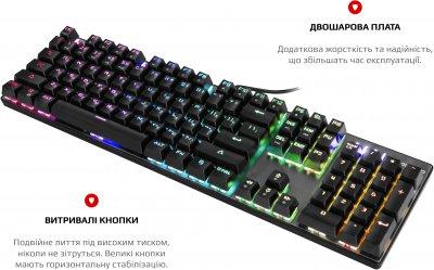 Клавіатура дротова Motospeed CK104 USB Outemu Blue, RGB ENG, UKR, RUS Silver (mtck104cmb)