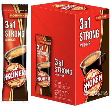 Упаковка кавового напою Жокей 3 в 1 Strong 10 шт по 10 стіків (4823096804194)