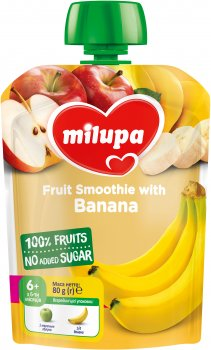 Упаковка фруктового пюре Milupa Яблуко та банан з 6 місяців 80 г х 6 шт. (6438091403563)