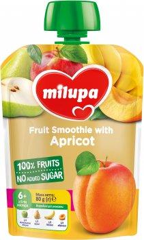 Упаковка фруктового пюре Milupa Яблуко, груша, банан і абрикос з 6 місяців 80 г х 6 шт. (6438091403600)