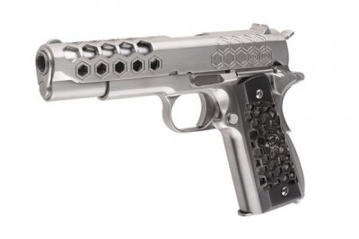 Пістолет WE Colt 1911 Hex Cut V. 3 Silver GBB (Страйкбол 6мм)