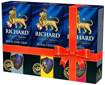 Упаковка чая черного пакетированного Richard Earl Grey 25 пакетиков + Royal Ceylon 25 пакетиков + English Breakfast 25 пакетиков (2300000010000)