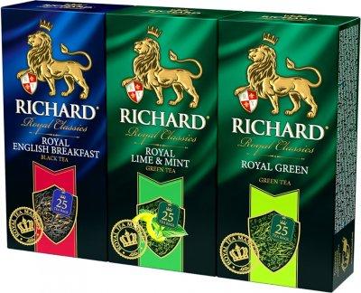 Упаковка зеленого и черного чая пакетированного Richard English Breakfast 25 пакетиков + Lime & Mint 25 пакетиков + Royal Green 25 пакетиков (2300000010001)