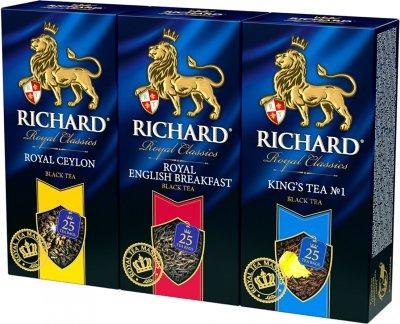 Упаковка черного чая пакетированного Richard Royal Ceylon 25 пакетиков + English Breakfast 25 пакетиков + King's Tea 25 пакетиков (2300000010005)