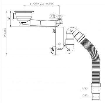 Сифон для кухонной мойки PREVEX Smartloc 114 мм 40/50 мм (41K13929)