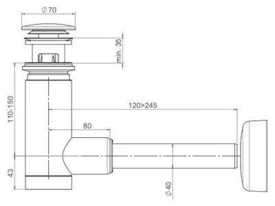 Сифон для раковины PREVEX EasyClean 40 мм клик-клак с переливом металл бронзовый (1512415)